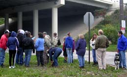 Hikers look at map of Treadway (under the Jennings Freeway
