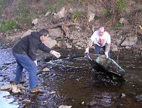 Pulling trash from Big Creek