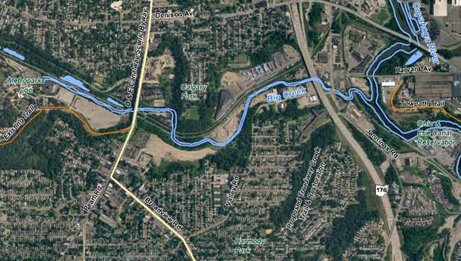 Aerial: Big Creek from Metroparks Zoo east to Cuyahoga River