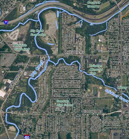 Aerial: Big Creek north course through Brooklyn with Stickney Creek